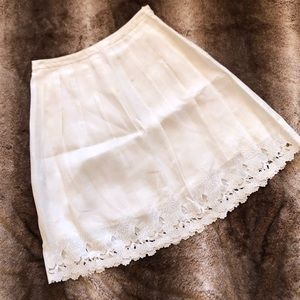 Ann Taylor Pleated and Embroidered Circle Skirt